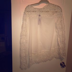 Anzermix Tops - Lace, long sleeve, thin white blouse
